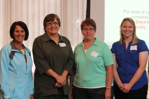 Pictured left to right are scholarship winners Liz Skillern, Connie Burns, Andrea Accola-Sabin, and Renee Davison.