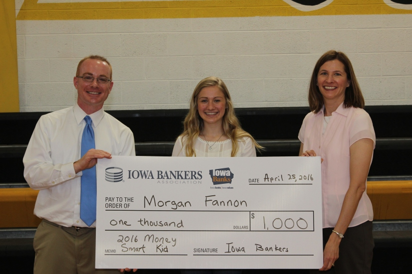 Money Smart Week Essay Contest Chair Matt Brown, 2016 Money Smart Essay Contest Winner Morgan Fannon, and Iowa Bankers Association Vice President of Marketing and Communications Lori Ristau
