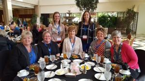 Iowa attendees enjoy lunch during the 2016 National Educators Conference held in Dallas, Texas, November 5-7.  Attendees include (individuals sitting left to right) Kristy Nickolisen, JoEtt Cogdill, Jennifer Anderson, Tia Shaffer and Dibbie Clausen.