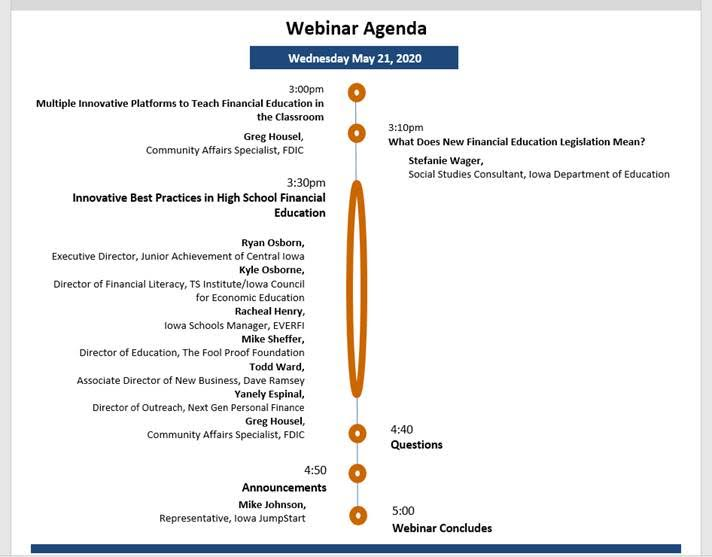 FDIC Webinar Agenda